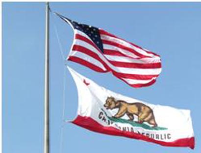 Flying American Flag and California State Flag