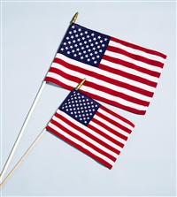 "U.S. Stick Flag w/ Spear - 4"" x 6"" - Endura-Gloss"