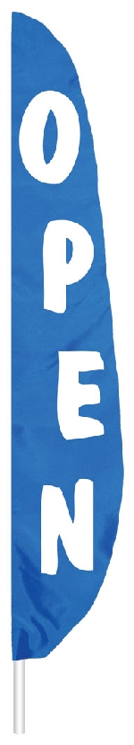 "Blue Open Feather Flag - 12' x 26"" - Nylon"
