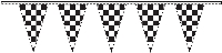 Black & White Checkered Flags Streamers - 30' - Plastic