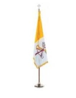 Papal Indoor Display & Parade Gold Aluminum Flag Set - 4' x 6' - Nylon