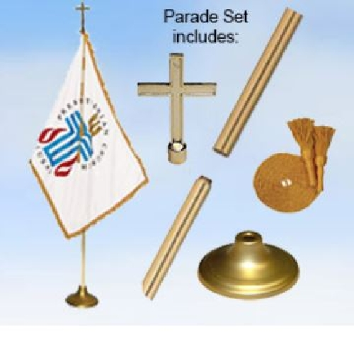 Presbyterian Indoor Display & Parade Oak Flag Set - 3' x 5' - Nylon