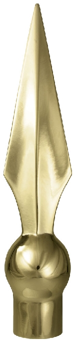 "Flat Spear Flag Pole Ornament - 10"" - Gold Finish"