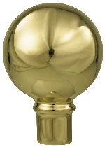 "Parade Ball Flag Pole Ornament w/ Spindle - 4 1/4"" - Gold Finish"