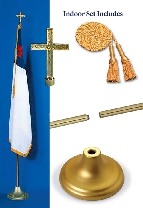 Christian 3 x 5 Indoor Display and Parade Golden Flag Set
